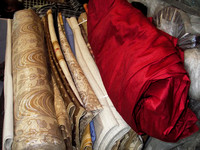 My Bangalore silk getting ready to become curtain panels, Delhi.